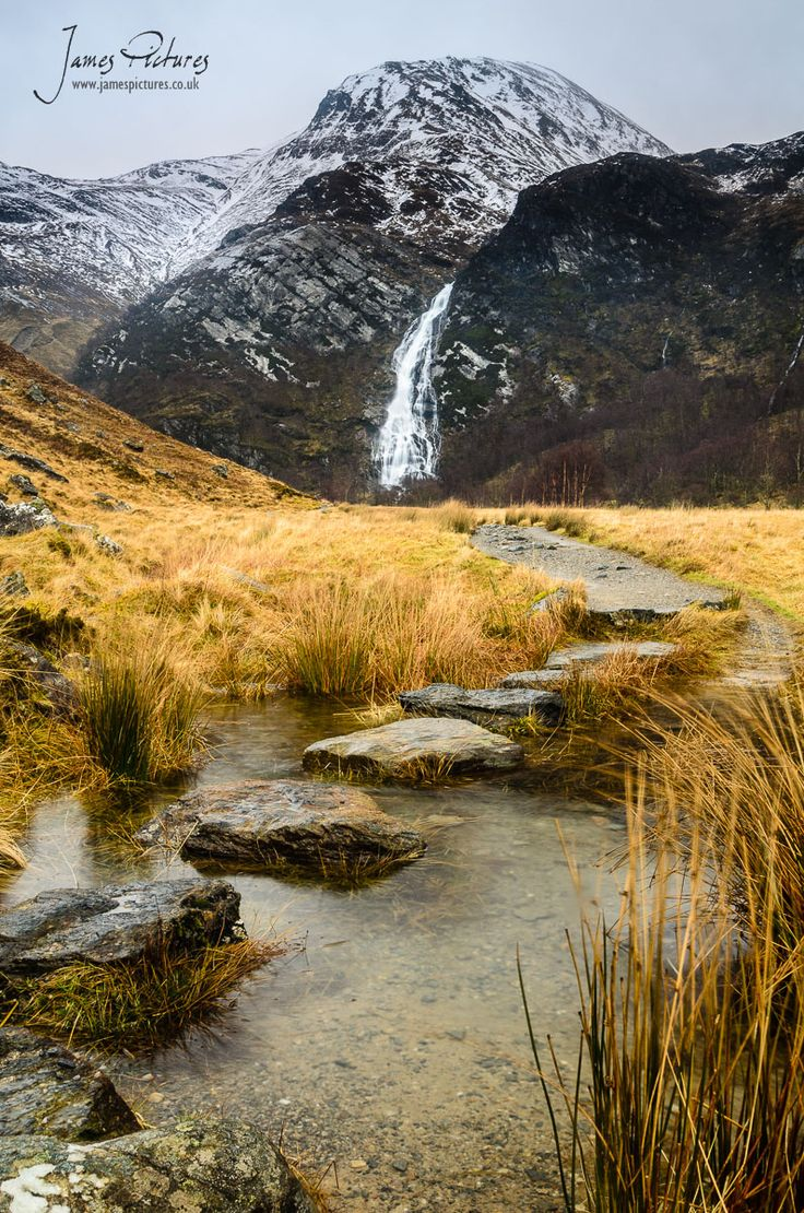 An Steall Bàn, Steall Waterfall or Steall Falls. Scotland