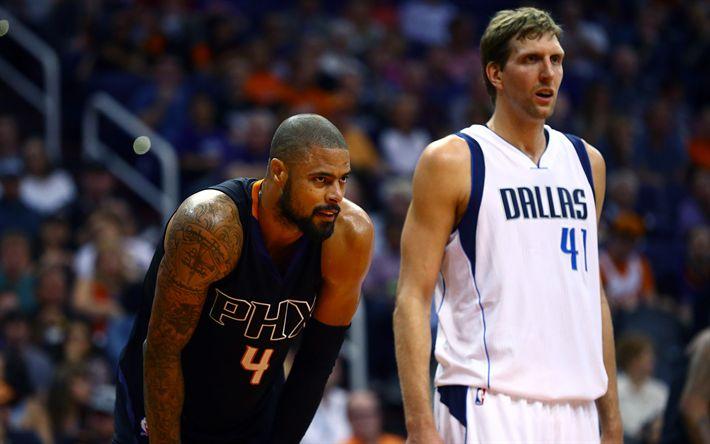 Hämta bilder Tyson Chandler, Phoenix Suns, Dallas Mavericks, Dirk Nowitzki, 4K, basket, NBA, USA