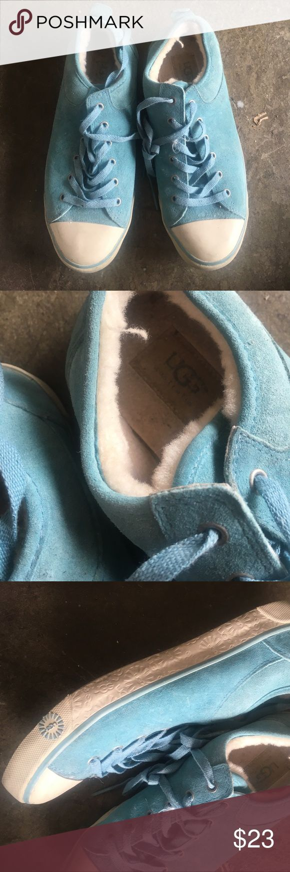AUTHENTIC UGG sneakers These blue authentic UGG sneakers are super cozy and unique! They feature a sheep fur lining and beautiful blue hue. They are mildly scuffed/dirty around the white parts of the shoes, but it is not severe and can be cleaned. UGG Shoes Sneakers