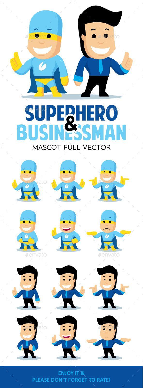 Super Hero and Business Man Mascot