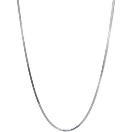 Women's Sterling Silver Squared Herringbone Necklace, 18 inch