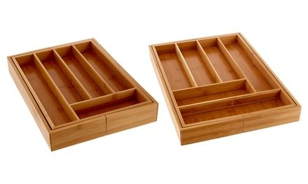 Keep drawers or cabinets organised with these expandable cutlery trays made from natural bamboo wood and featuring numerous compartments