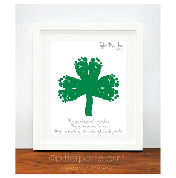 St Patricks Day Baby Footprint Shamrock - Irish Blessing for Baby - Personalized Ireland Art Print - Green St Patricks Day Decoration. $30.00, via Etsy.