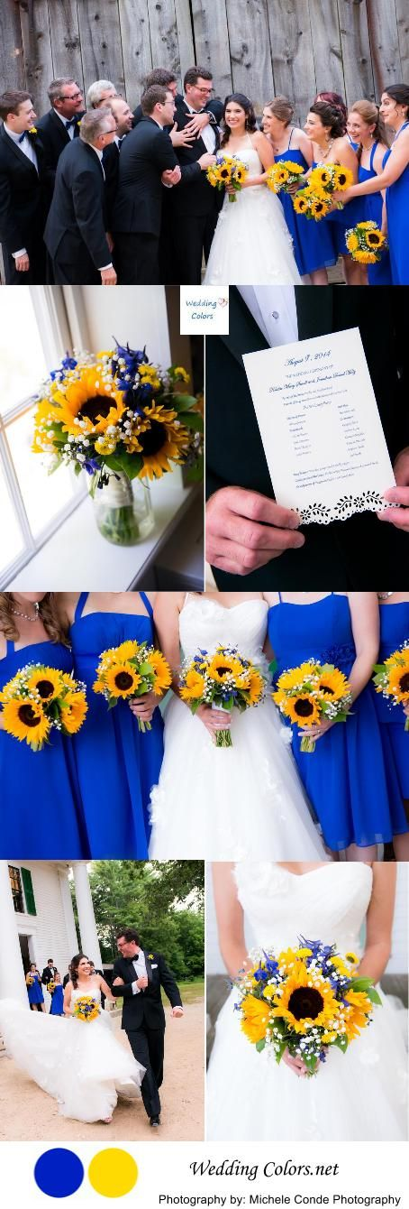 THIS IS IT!! Wedding flowers!!!! Cobalt Blue & Sunny Yellow Wedding Palette