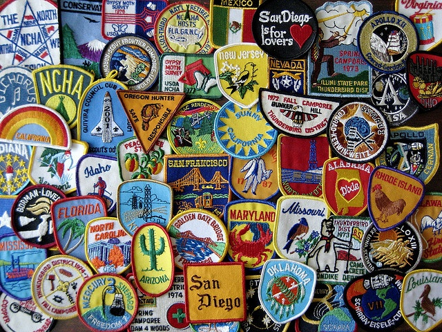 travel patches by crispin fedarb  I bought a vest yesterday to fill up with patches from all over. The idea is to travel to as many places as I can and fill up my vest with the patches. First stop, California! :D