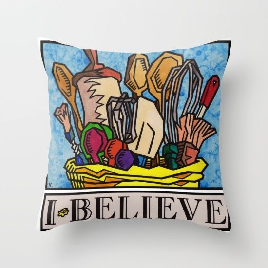 """I Believe in Baking"" by Vernon Fourie \ throw pillows baking utensils roller brushes wooden spoons measuring tools wisk passion food"