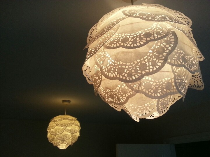 123 best images about doily lamp on pinterest lace lamp for Doily light fixture
