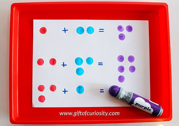 9 fun and easy ideas for creating and learning with dot markers. See how versatile dot markers can be for helping kids to learn and have fun! Great ideas for art projects, patterning, math, letters, and more learning that kids will enjoy! || Gift of Curiosity