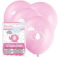 Baby shower rosa ballonger med motiv - 30 cm latex - 8 st