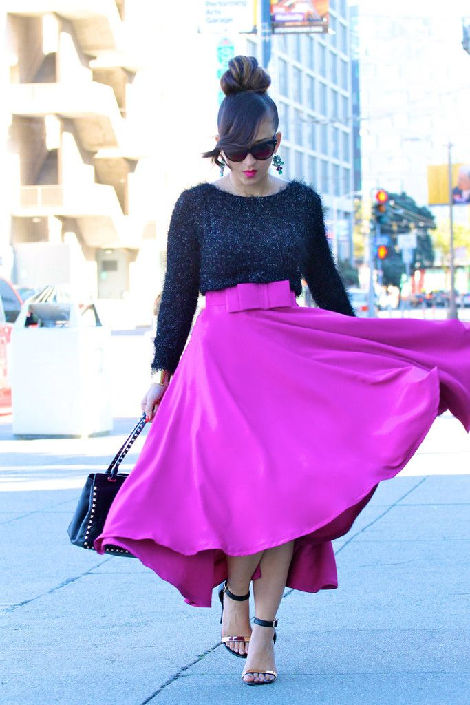 High Low Bow Skirt in Fuchsia -Love the BOW
