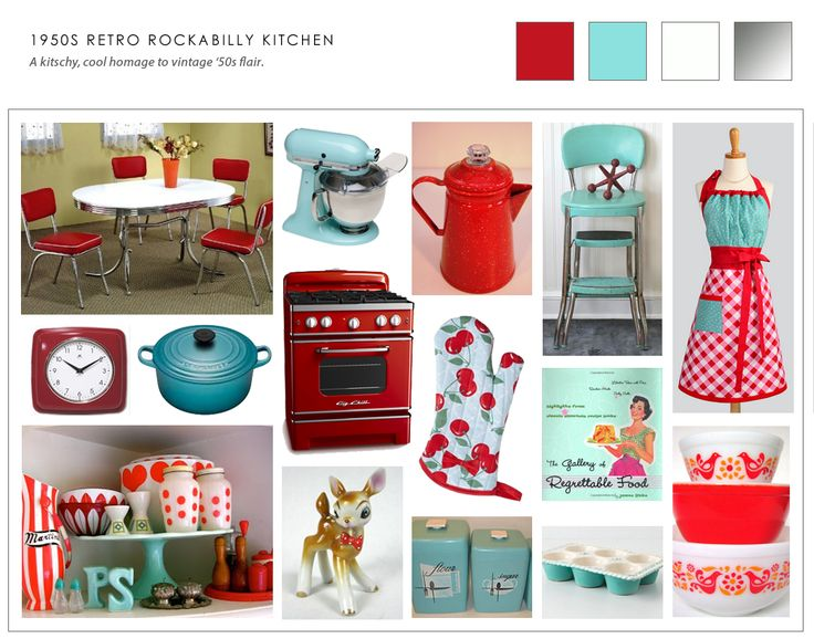 Collage of retro 50s kitchen ideas kitchen chic for Home decor 50s