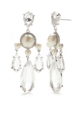 Kate Spade New York  Silver-Tone Glitz And Glam Chandelier Earrings - Clear - One Size