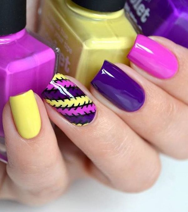 Multicolored Manicure.Apply different colors on your random nails. Add stripes, waves or any kind of pattern with these colors on alternative nails and you would end up having amazing nail art!