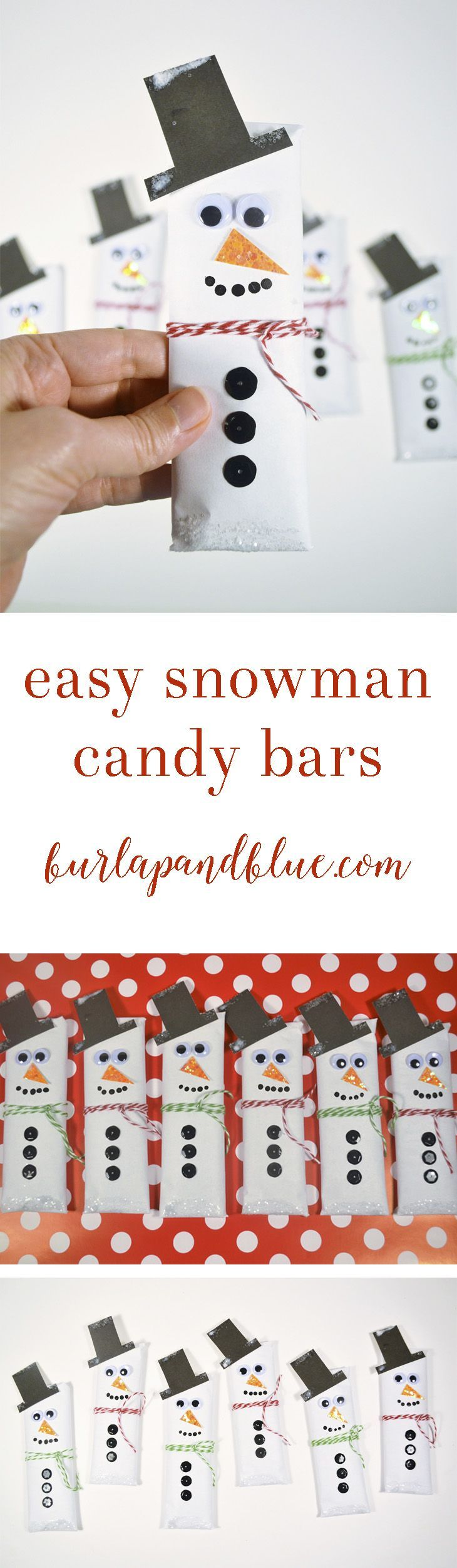this easy snowman craft is perfect for kids! make these snowman candy bars to give out as gifts or favors for the christmas  holidays (also make a fun stocking stuffer).