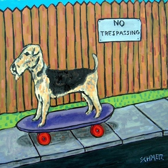 This is just too awesomely Beaux.: Terriers Approv, Aired Terriers, Dogs Art, Pictures Dogs, Airedale Skateboard, Air Terriers, Airedale Terriers, Skateboard Pictures, Terriers Skateboard