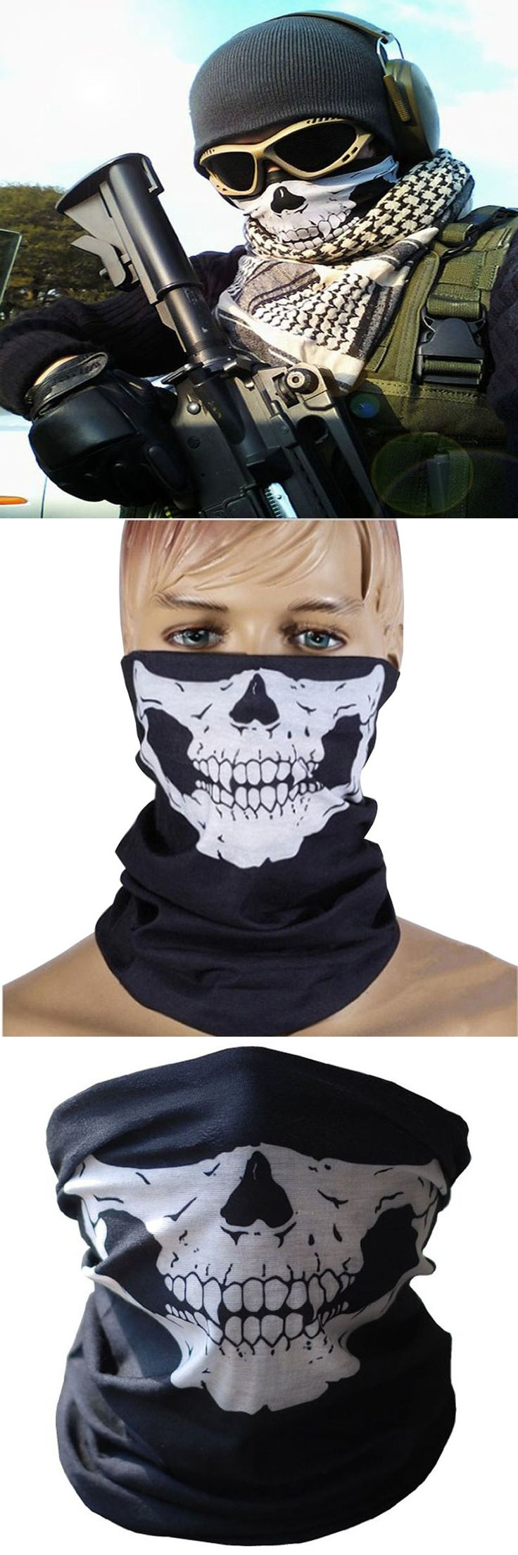 2017 Fashion Men Ghost Scarf Black Skull Half Face Skeleton Motorcycle Scary Mask for horror CS Party Halloween Mask Gift