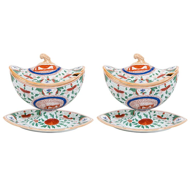 A Pair of Early 19th Century  Minton Small Tureens | From a unique collection of antique and modern tureens at https://www.1stdibs.com/furniture/dining-entertaining/tureens/
