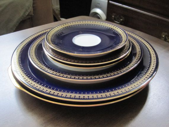 Reproduction Of Romanov China Cobalt Blue Beautiful
