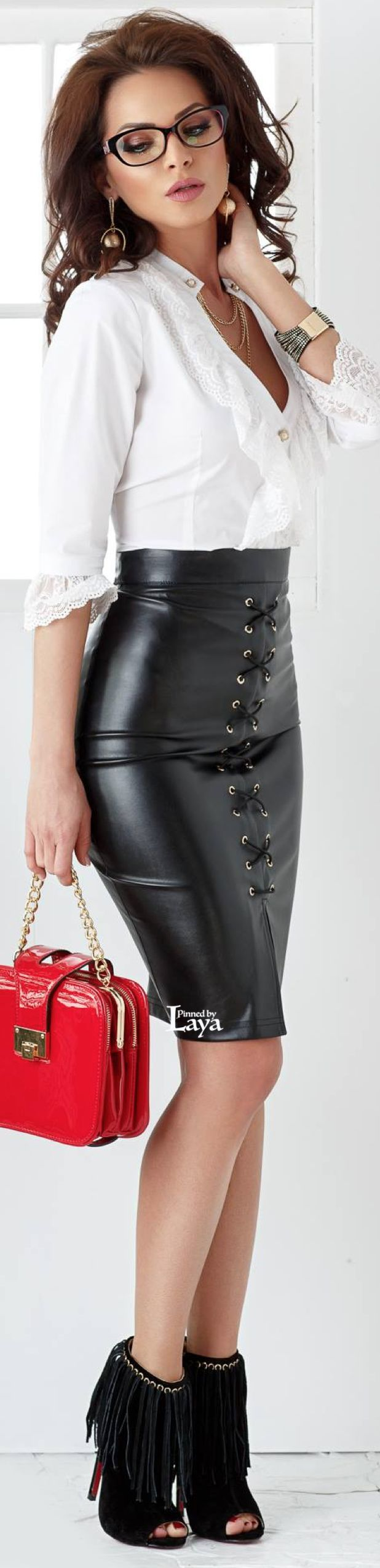White blouse & black leather skirt