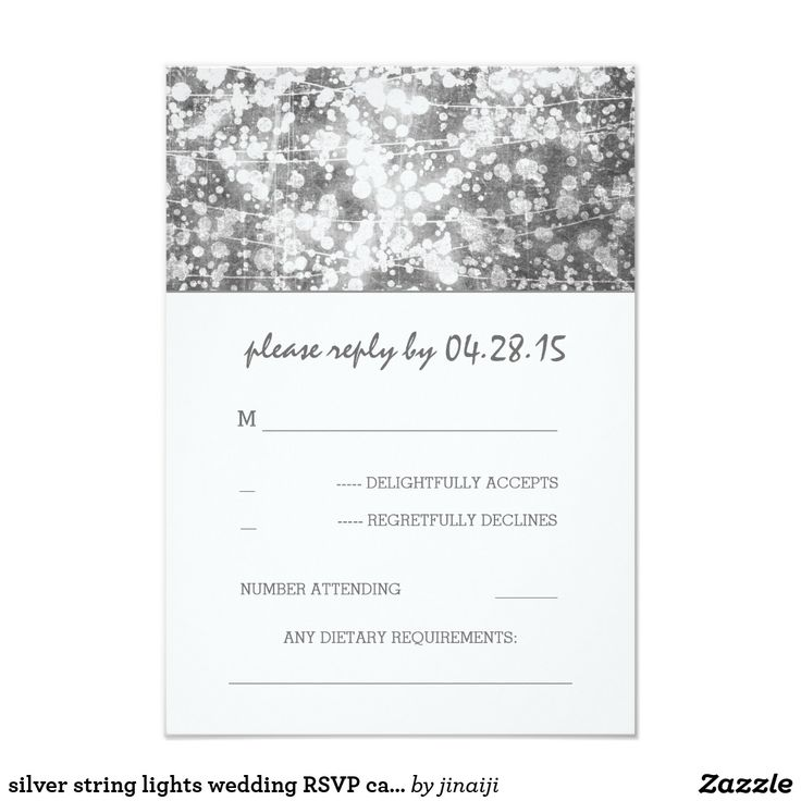 silver string lights wedding RSVP cards silver grey string of lights wedding reply cards