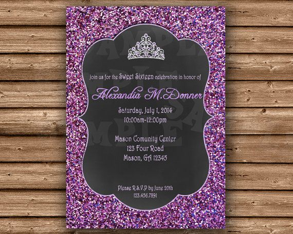 Printable purple glitter Sweet 16 or Quinceanera Invitation, featuring purple glitter and tiara in chalkboard theme with optional photo,