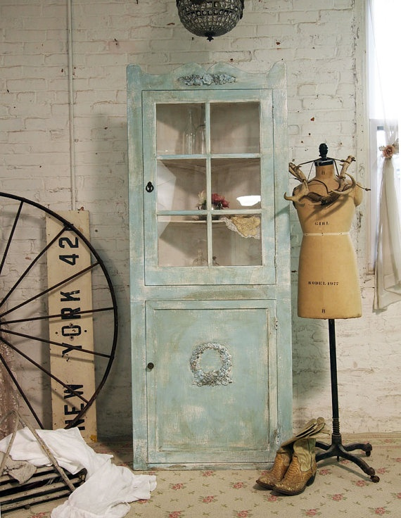 Painted Cottage Chic Shabby Aqua Corner Cabinet by paintedcottages, $325.00: Cottage Chic, Repurposed Chippi Furniture, Antique Furnishings, Cottages Chic, Aqua Corner, Dresses Form, Corner Cabinets, Chic Shabby, Rustic