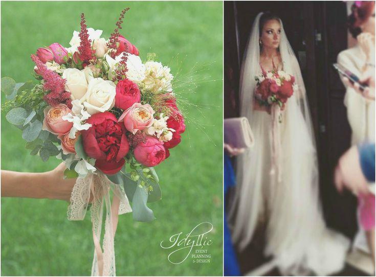 design floral si decor nunta - design de eveniment - buchet mireasa accente de rosu