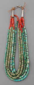 A PUEBLO TURQUOISE AND CORAL NECKLACE. c. 1930. ... American Indian | Lot #71028 | Heritage Auctions
