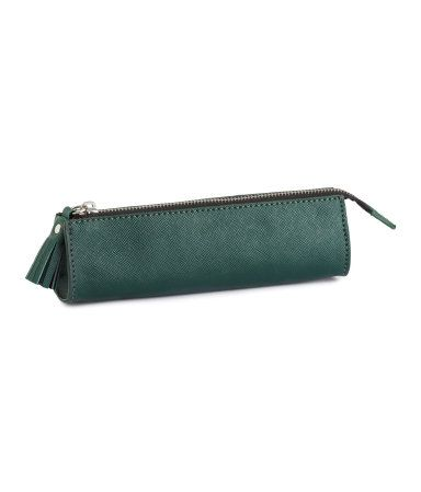 Adorable green pencil case in embossed imitation leather with tassel detail at zipper. | H&M Accessories