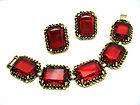 Vintage Bracelet Earring Set Cherry Red Glass Open Back  on Rummage: Earring Set, Website Stuff, Cherry Red, Vintage Bracelet, Open Backs, Red Glass