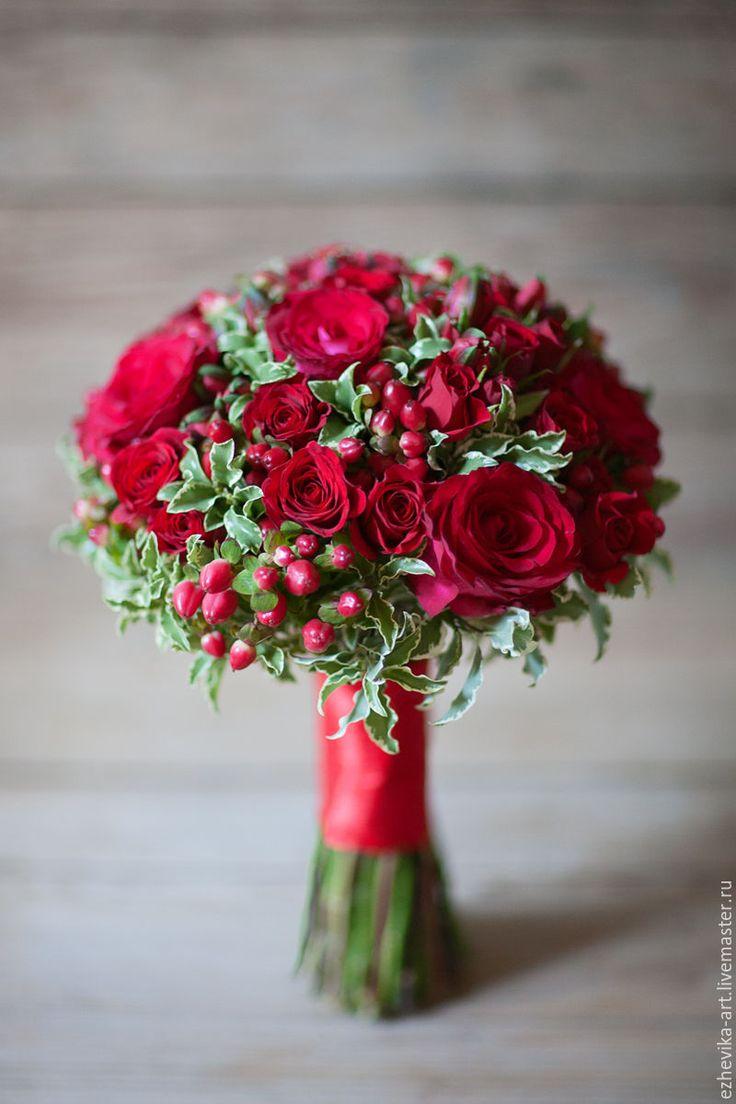 Bride's bouquet | Купить Красный свадебный букет - ярко-красный, красные розы, букет невесты, свадебный букет