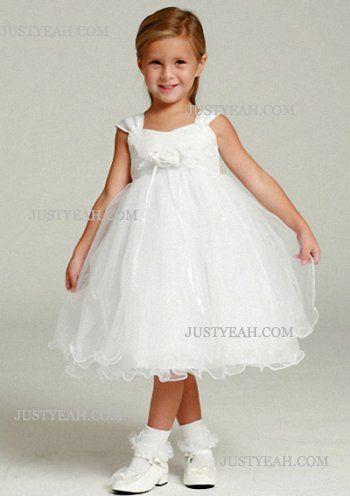 Bloemenmeisjes Jurken-Prinses bedekte knie-lengte satijnen bloem meisje jurk