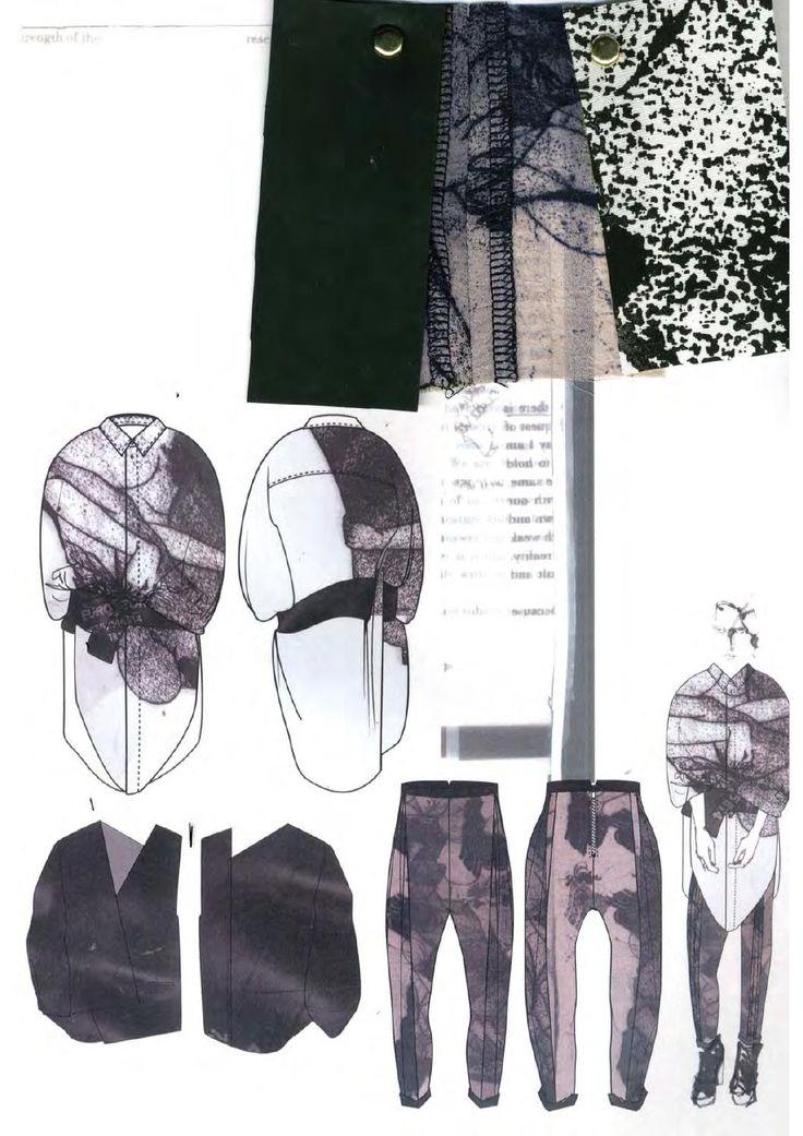 Fashion Sketchbook - fashion design development process with fashion drawings & textile sampling; creative fashion portfolio layout // Victoria Rowe