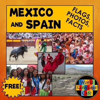 Inspire your students to learn about the Spanish speaking countries with these colorful photos and interesting facts for Spain and Mexico. * 6-8 colorful photos representing the people, places, food, and festivals from Mexico and Spain* Large and small colored country flags* 5 interesting facts about each country in Spanish and in English* Ideas and lyrics for Spanish flag songs for older and younger students (music not included)* Black and white country flags (color by number)* Hispanic…