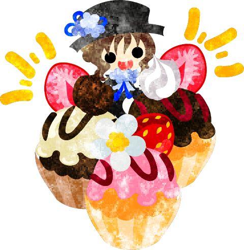 フリーのイラスト素材巨大な苺のカップケーキと笑顔の少女  Free Illustration Big strawberry cup cakes and a smiling girl  http://ift.tt/1paKzFm