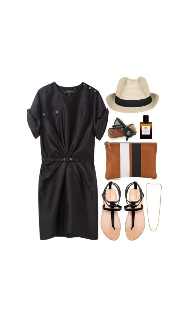 Resort wear: black cap sleeve, sandals, fedora