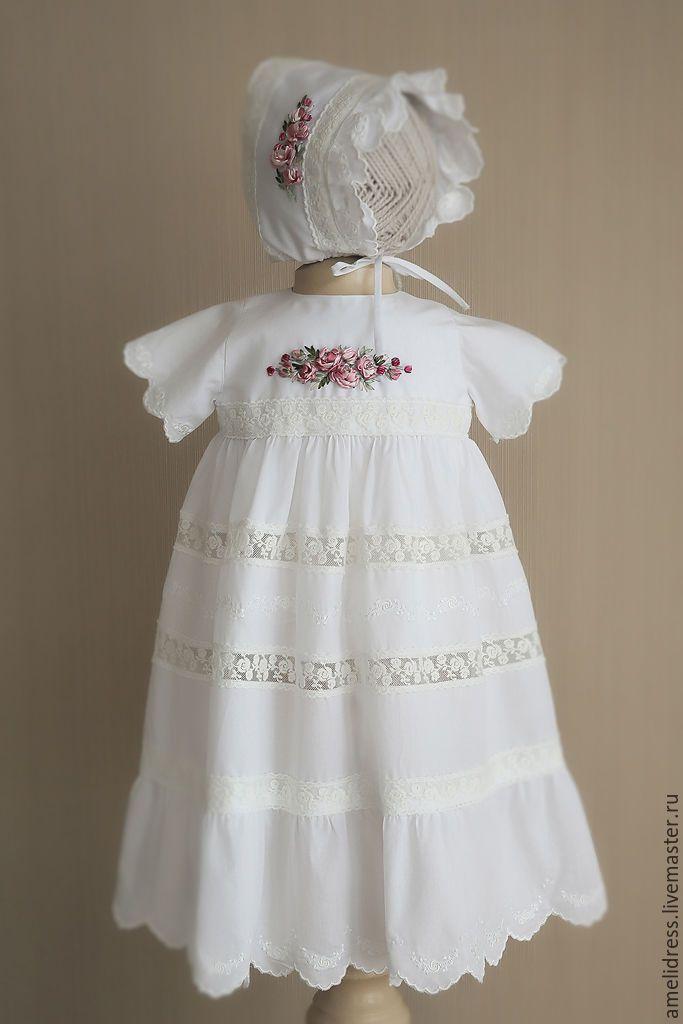 Купить Крестильное платье - белый, цветочный, крестильное платье, торжество, хлопок 100%