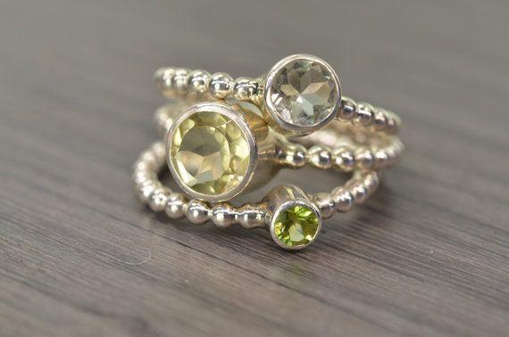 Prasiolite Lemon Quartz Peridot Stack ringen, zilveren gouden trio stapelen stapelbare sieraden - Carmine ringen