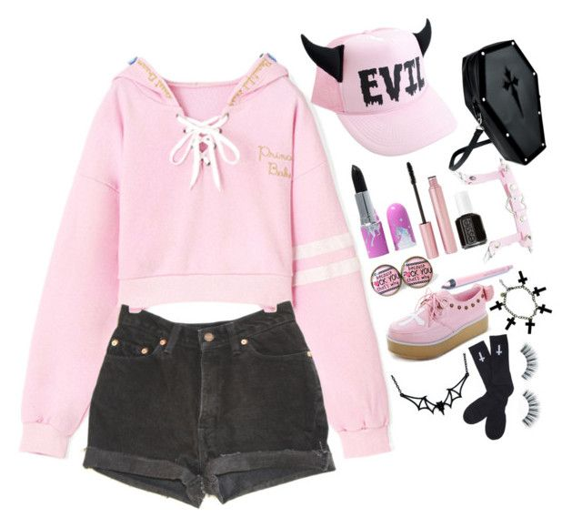 """✞Pastel goth~3✞"" by akiko-pastel-princess ❤ liked on Polyvore featuring Levi's, Mally, Tarina Tarantino, Essie, Alex and Chloe, Abandon Ship, Napoleon Perdis, women's clothing, women's fashion and women"