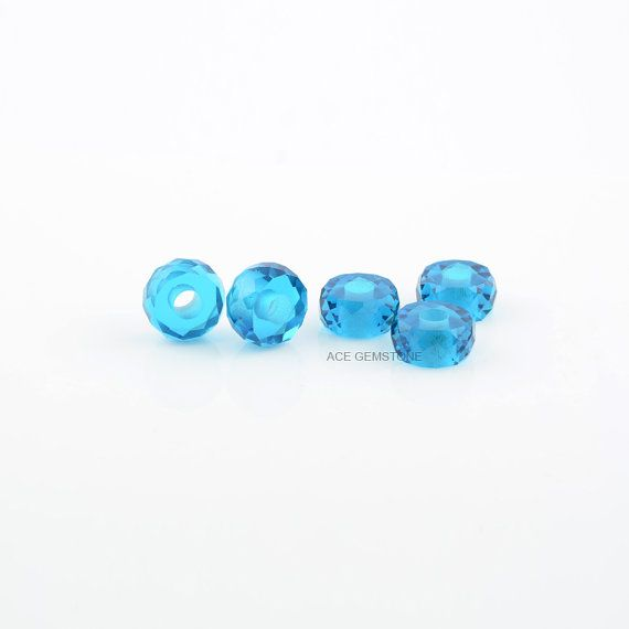 Big Hole Beads Blue Quartz Loose Gemstone Tyre Faceted 6x12mm, Wholesale Gemstone Beads for Making Jewelry- 5Pec