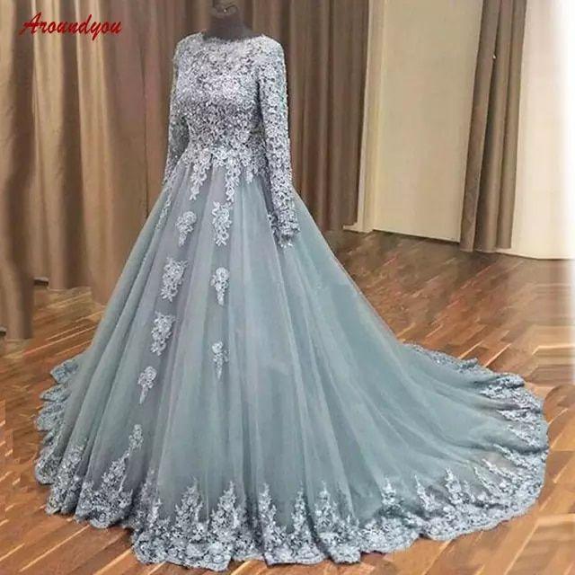Online Shop Langarm Spitze Abendkleider Party Plus Grosse Eine Linie Frauen Damen Formale Kleider Abendkle Abendkleid Pakistanische Brautkleider Formale Kleider