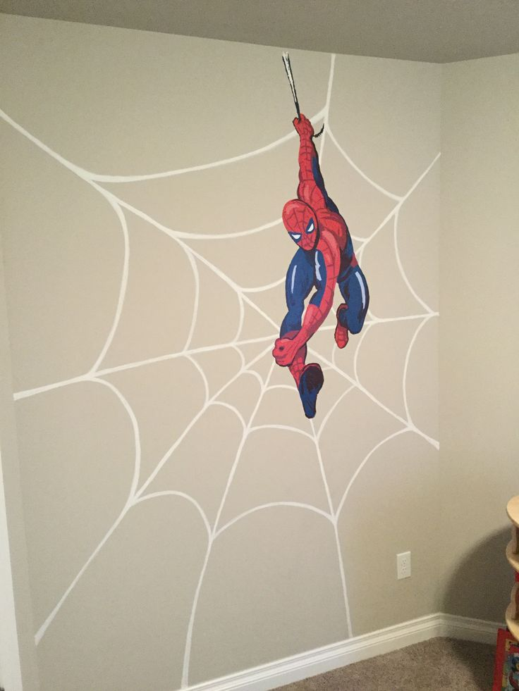 DIY superhero wall art! Handpainted spider web with Pottery Barn Kids Spiderman decal. I dry-brushed flat white paint (our trim color) using a small flat brush. Start by painting the diagonal lines from the center point of the web and extend the lines (do not have to be perfect) to where you want them to stop. Then draw the curved lines inside. Wait for paint to dry before applying any decals. Tip: practice drawing spider webs on paper before you paint.