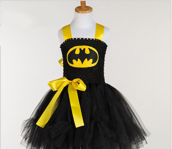 Get Ready for Halloween!!!  Batman Tutu Dress, Handmade Batman Fancy Dress Costume with Fully Lined Top  Taking in new orders for Halloween. This is the perfect, cutest dress for your little super hero. Here I have created a tutu dress which was inspired by the great legend super hero BATMAN. The bodice is made with a fully lined black crochet tutu top, where I have added layers and layers of of black tulle. I have also attached a Batman Logo on the front of the top. To complete the SUPER…