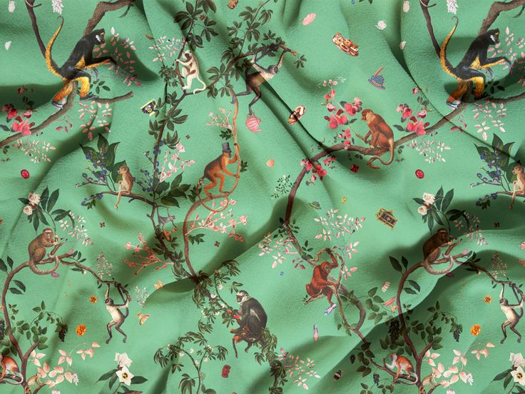 Do you sew? Don't miss the MONKEY WORLD print on fabric, in green! Available on cotton, satin, eco canvas, faux suede, denim, sport lycra, poplin, piqué, chiffon, organic gauze, crepe de chine, knit, jersey, spandex... and many more! #fifikoussout #fauxsuede #satin #cotton #polyester #denim #fleece #poplin #print #design #homedecor #interior #fabric #sewing #sew #monkey #japonisme #SpoonFlower