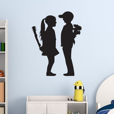 "Style and Apply Banksy Boy Meet Girl Wall Decal Color: Pastel Orange, Size: 31"" H x 24"" W"
