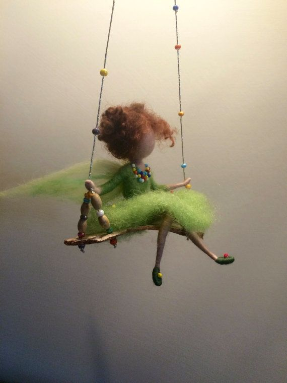 Needle felted fairy, Children room, Waldorf inspired, Needle felted angel, Swing, Doll miniature, Green fairy, Felted fairy, Gift, Wool doll