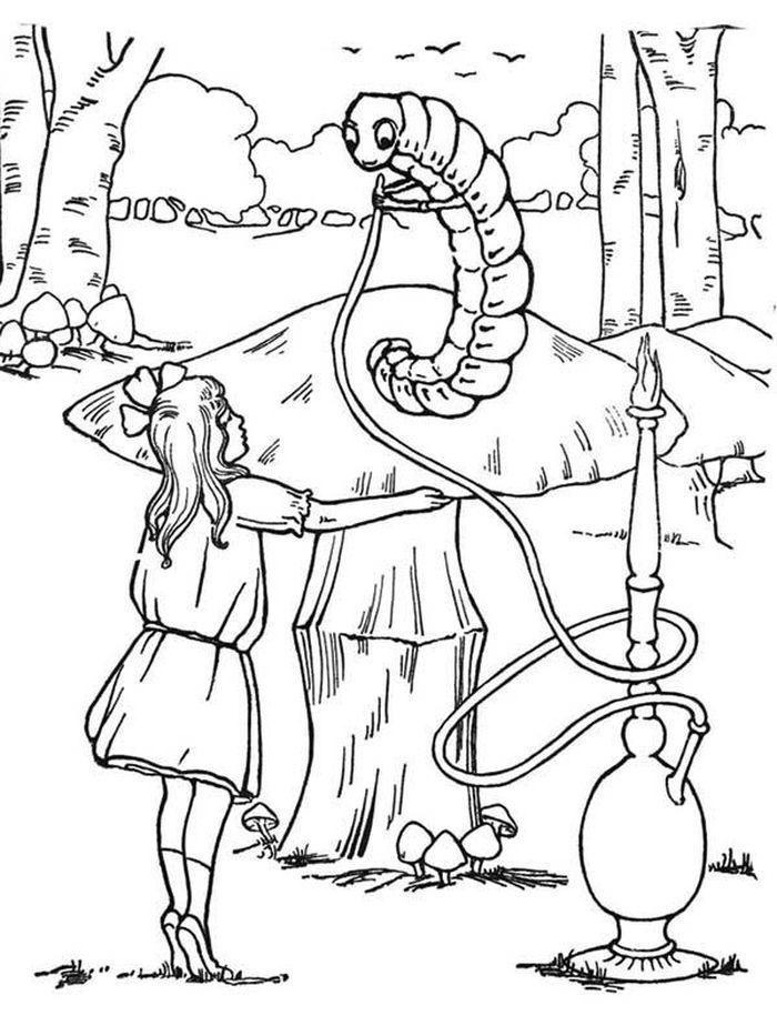 Printable Coloring Pages Of Alice In Wonderland In 2020 Alice In Wonderland Cartoon Alice In Wonderland Coloring Pages