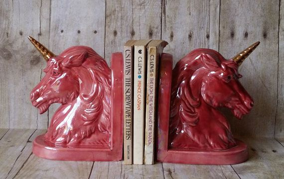 unicorn bookends magical mythical creature pink iridescent gold horn fantasy vintage girls room decor pastel goth