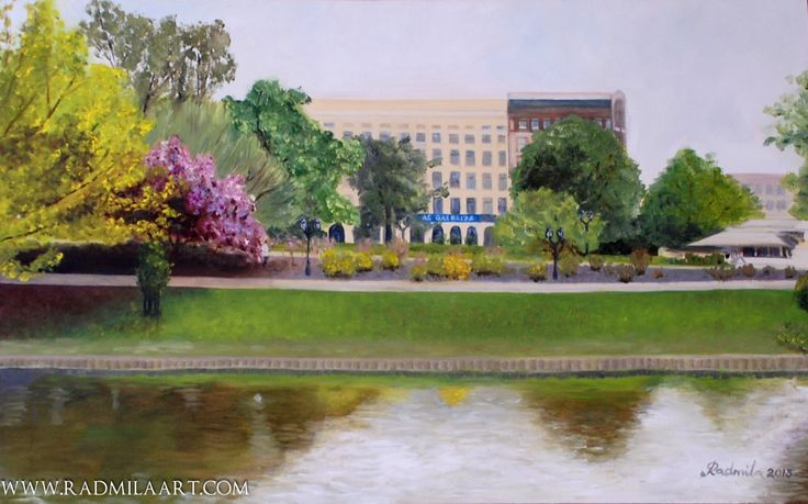 Painting by Radmila Filimonova/ Radmila art studija. Oil painting. Latvia Riga city canal. Landscape. More painting: www.radmilaart.com