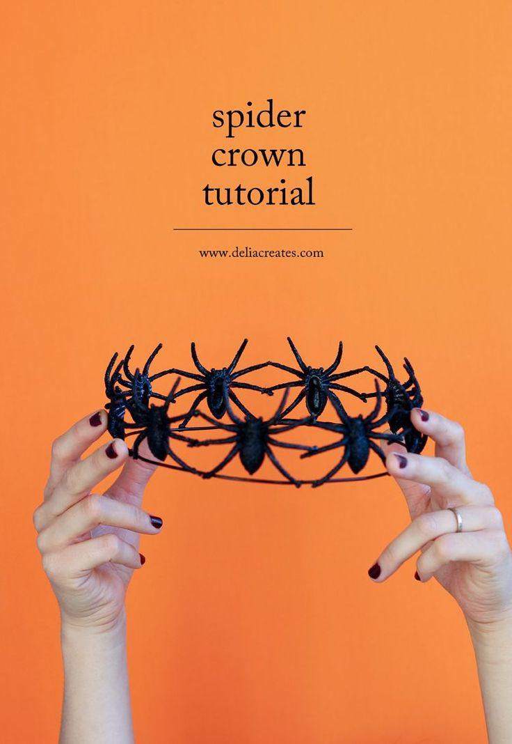 Easy DIY Spider Crown tutorial for Halloween